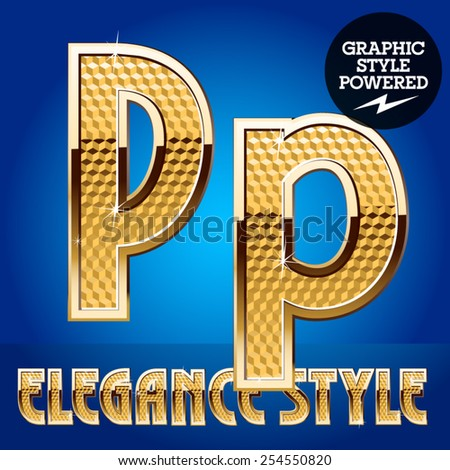Vector set of rich shining alphabet with golden border. Letter P - stock vector