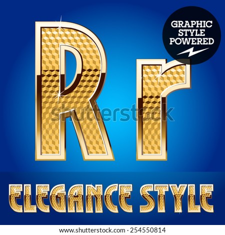 Vector set of rich shining alphabet with golden border. Letter R - stock vector