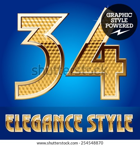 Vector set of rich shining alphabet with golden border. Numbers 3 4 - stock vector
