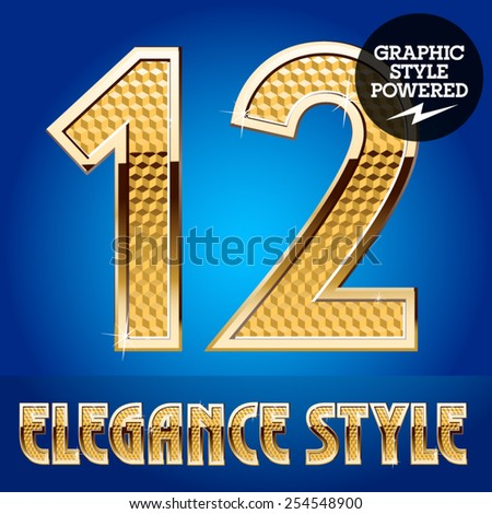 Vector set of rich shining alphabet with golden border. Numbers 1 2 - stock vector
