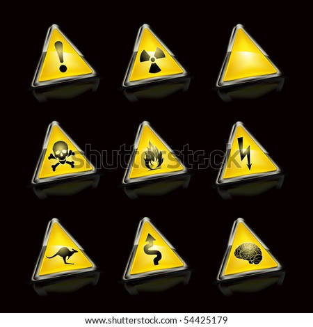 Vector Set of road signs, on black - stock vector