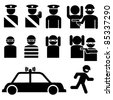 Vector set of robber and police officer stick figures illustrations - stock photo