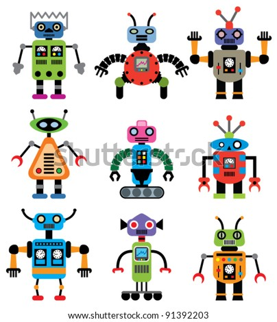 vector set of robots of various shapes and colors