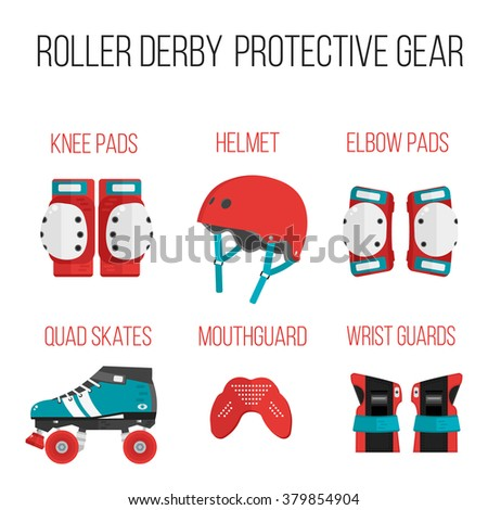 Vector set of roller derby protective gear.Skating theme icons. Skating flat illustration of helmet, knee pads, elbow pads, mouthguard, wrist guard and quad roller skate. Isolated sport skating icons  - stock vector