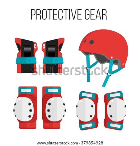 Vector set of roller skating and skateboarding protective gear.Skating protective gear icons. Skateboarding protective gear icons. Wrist guards, helmet, knee pads, elbow pads. Isolated sport elements  - stock vector