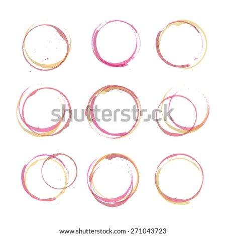 Vector set of rose, red and white wine stain circles. Red wine stains and spots. Wine bottom glass ring stains for badge design. Hand drawn glass marks of wine stain on white. Rose wine stain on paper
