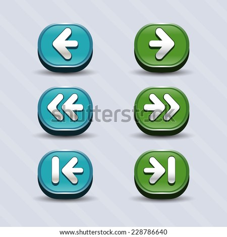 Vector set of round arrow buttons in cyan and green with shadows. Menu elements for web or game design. GUI design for social game.