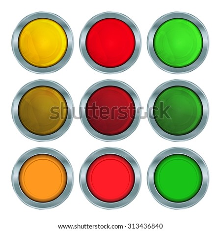 vector set of round buttons of red, orange and green colors in chromed metal frame with turning on and off lights of the same color