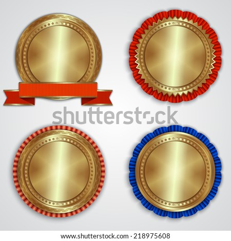 Vector set of round gold badge templates with ribbons and place for text - stock vector