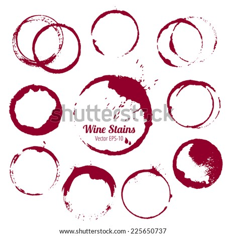 vector set of 10 round ink wine stains isolated on white background