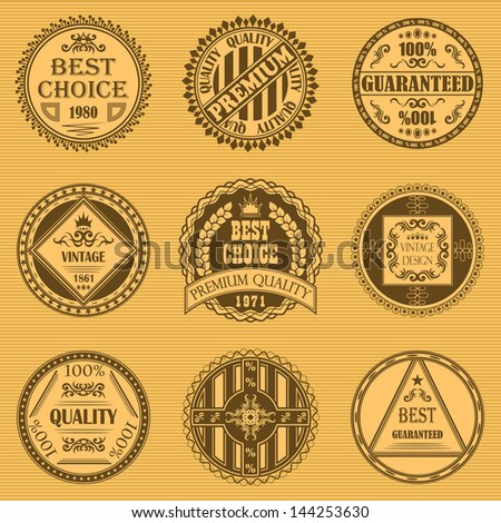 Vector set of round labels. Vintage design. Retro style. Vintage labels - stock vector