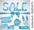 Vector set of sale christmas  - blue version - stock photo