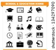 Vector set of school and education icons and design elements for college, academy or other educational institution. Illustration on white background. - stock vector