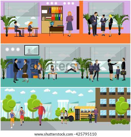 Vector set of school concept banners. School interior, pupils studying in classroom, teachers. School yard, building and school bus. - stock vector