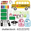 Vector - Set of School Tools, Symbols & Icons - stock vector