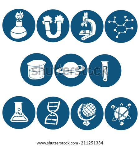 vector set of science icon - stock vector