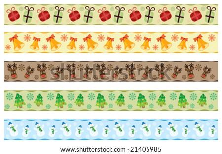 vector set of scrapbook christmas ribbons - stock vector