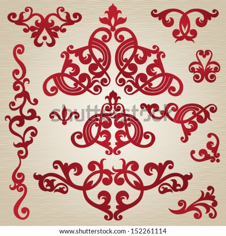 Vector set of scrolls and vignettes in Victorian style. Element for design. It can be used for decorating of invitations, greeting cards, decoration for bags and at tattoo creation. - stock vector