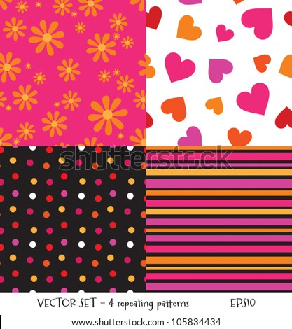 Vector set of 4 seamless background patterns. Can be used for textiles and surface textures, scrap-booking, greeting cards, gift wrap, wallpapers. See my portfolio for JPEG versions. - stock vector