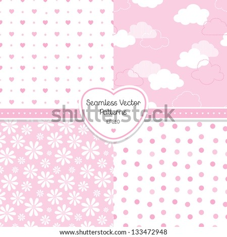 Vector set of 4 seamless background patterns in light pink. Good for Baby, Birthday, Mother's Day, Wedding, Easter, scrapbook, surface textures, gift wrapping paper. See my folio for other colors. - stock vector