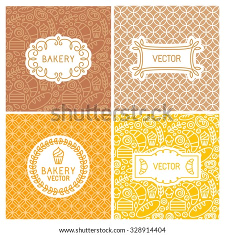 Vector set of seamless backgrounds with frames and labels - bakery concepts and menu covers in trendy linear style with outline icons - stock vector