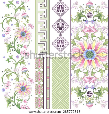 Vector set of seamless borders. Lotus flowers and leaves are painted by watercolor. Imitation of chinese porcelain painting. - stock vector