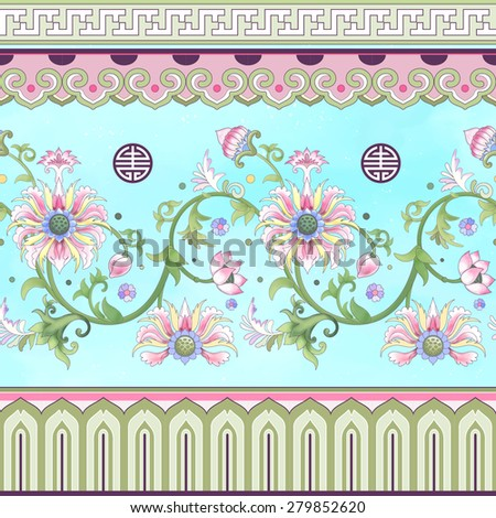 Vector set of seamless borders. Ornament in chinese style. Elegant floral design. Imitation of chinese porcelain painting. Lotus flowers and leaves are painted by watercolor.  - stock vector