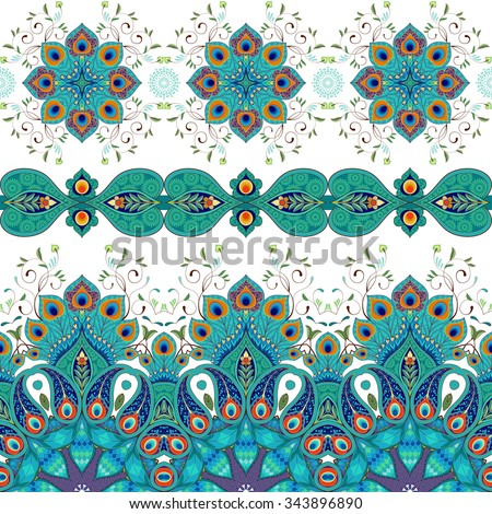 Vector set of seamless borders. Pattern with peacock feathers.  - stock vector
