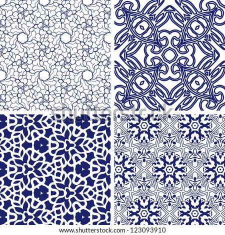 vector set of seamless floral pattern background - stock vector