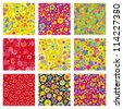 Vector set of seamless - flower pattern and other - stock vector