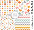 Vector set of seamless hipster background patterns in orange, pink and gray with butterflies, triangles, chevrons and polygons.  - stock vector