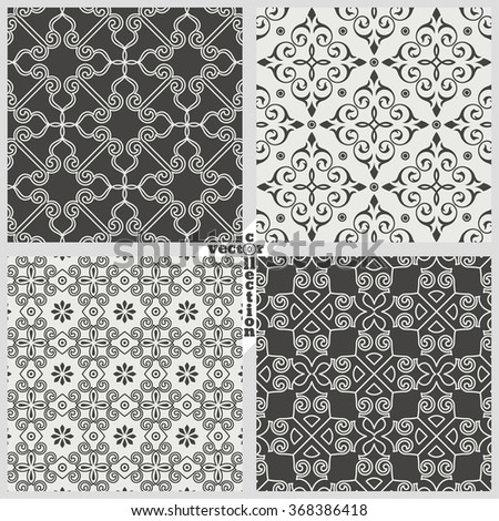 Vector set of seamless pattern. Luxury stylish textures. You can use seamless patterns as background, fabric print, surface texture, wrapping paper, web page backdrop, wallpaper and more - stock vector