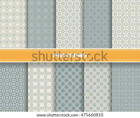 Vector set of seamless pattern with linear concentric circles ornament. Grey geometric background. Decorative mosaic illustration for print, web