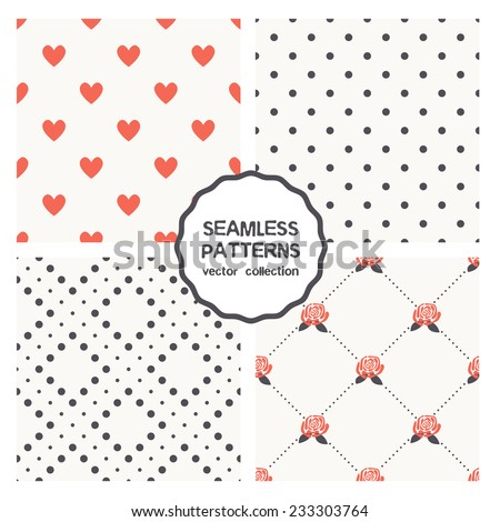 Vector set of seamless patterns. Abstract geometric backgrounds. Polka dot, hearts, dotted rhombuses, roses. Cute collection of patterns can be used for business cards, textiles, wallpaper etc. - stock vector