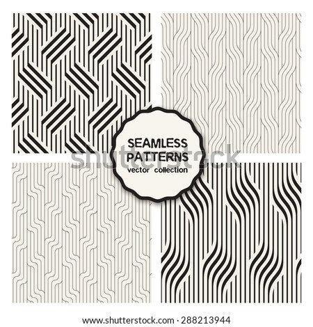 Vector set of seamless patterns. Abstract linear backgrounds. Patterns with diagonal geometric braids, stripes. Cute monochrome collection. Modern graphic design. - stock vector