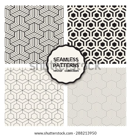 Vector set of seamless patterns. Repeating geometric tiles. Collection of minimalistic textures. Hexagonal monochrome grids. Regular simple prints. Modern graphic design. - stock vector