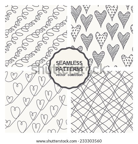 Vector set of seamless patterns. Valentines Day background with  hearts. Hand drawn cute doodle - stock vector