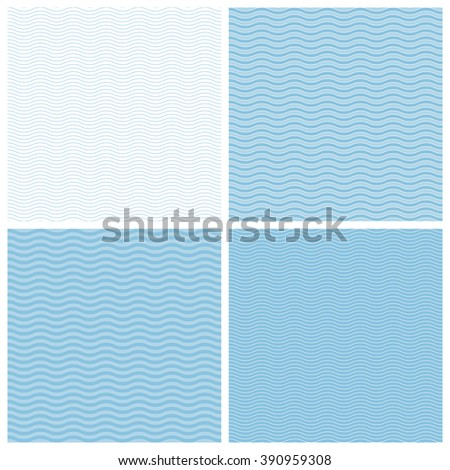 Vector set of seamless patterns.Wave background. - stock vector