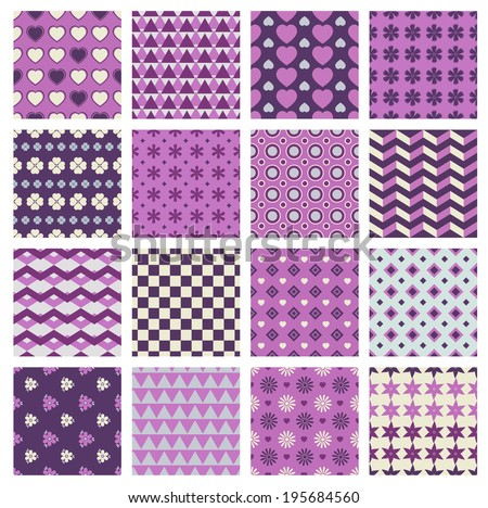 vector set of 16 seamless patterns with flowers and hearts - stock vector