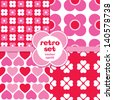 Vector set of seamless retro background patterns in pink and red. Good for Valentine's Day, Birthday, Mother's Day, scrapbook, surface textures. See my folio for other colors and for JPEG versions. - stock vector