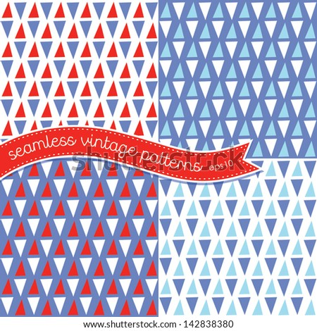 Vector set of seamless retro backgrounds in red, white and blue. Use for Baby Shower, 4th July, Scrapbook, Gift Wrap, Surface Textures. See my folio for other colors and for JPEG versions. - stock vector