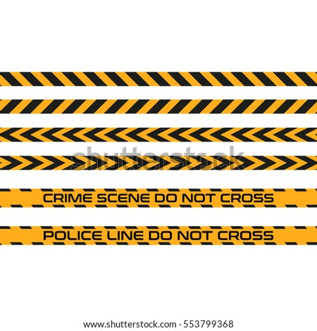 Vector set of seamless tapes, Police Line do not cross. For restriction and dangerous zones