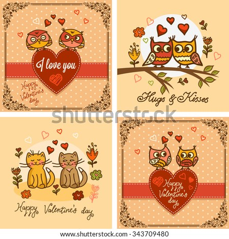 Vector set of seamless valentine greeting cards with cute cats and owls. Valentines Day design. - stock vector