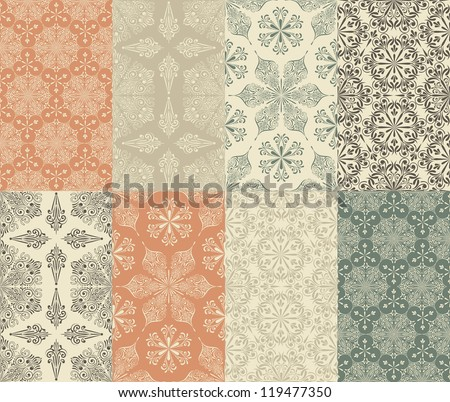 Vector set of 8 Seamless Winter Patterns with Snowflakes  fully editable eps 8 file, seamless patterns in swatch menu, - stock vector