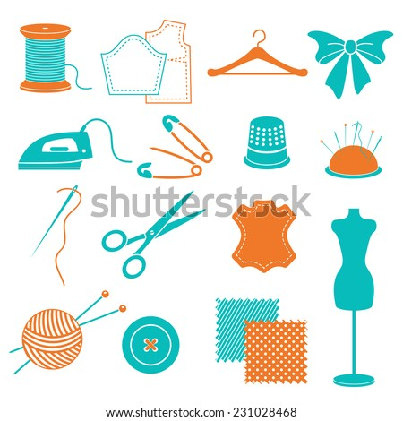 vector set of sewing equipment and stuff - stock vector