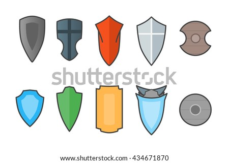 Vector set of shields cartoon style.