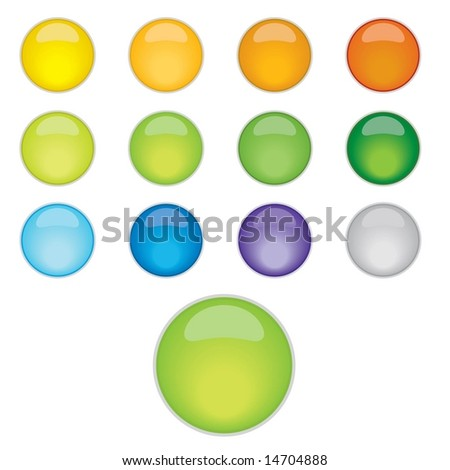 Vector set of shiny web 2.0 glassy buttons with soft shadow - stock vector