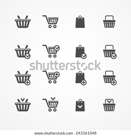 Vector Set of shopping cart icons on white - stock vector