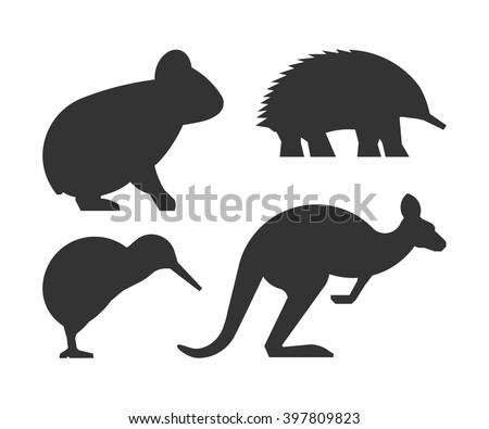 Vector set of silhouettes australian animals. Black icon koalas, kangaroos, echidnas and kiwi.