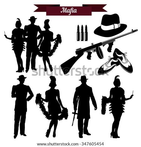 Vector set of silhouettes in retro 1930s. Mafia theme, gangsters retro 1930s style. - stock vector